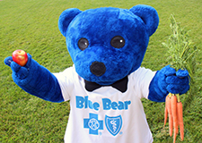 Blue Bear with fruit and veggies
